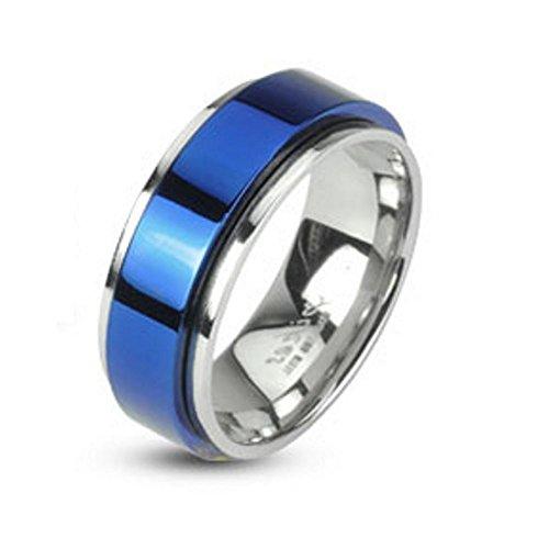 Bungsa 64 (20.4) Ring blau-Silber - EDELSTAHLRING mit blauem Mittelring für Damen & Herren - blaues Band auf Silberring - edler Schmuckring drehbar für Frauen & Männer/Herren & Damen