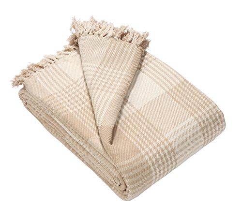 EHC Tagesdecke 100% Baumwolle Super-King-Size-Größe: 250x 380cm, Tartan-Karo, überwurf fürs Sofa, Tagesdecke, Wendedecke Beige / naturfarben