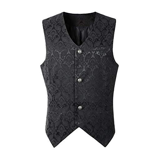 Dasongff Herren Gothic Mittelalter Weste Sakko Vintage Frack Jacke Retro Gothic Victorian Steampunk Coat Uniform Party Kostüm Vampir Cosplay Verkleidung Viktorianisch Vest