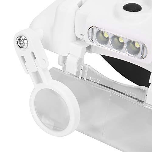 Lupa de gafas, lupa de montaje de cabeza uniforme para tatuaje para herramientas de reparación para reparación de relojes para tatuaje de pestañas
