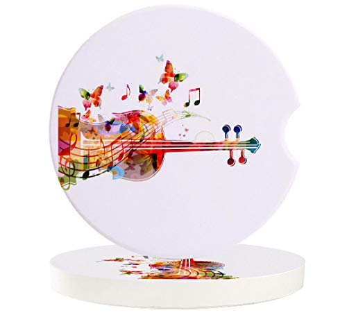 Music 4 Pcs Car Coasters Absorbent Ceramic for Drink - Colorful Guitar with Music Notes and Flower Hummingbirds Artwork, Best Interior Decorative Cupholder for Car Accessory