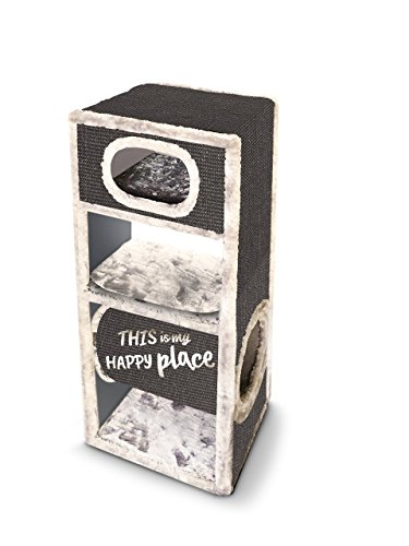 Petrebels Kratztonne Champions Only Box 100 in cream/hell-beige mit modernem Print für kleine bis normalgroße Katzen