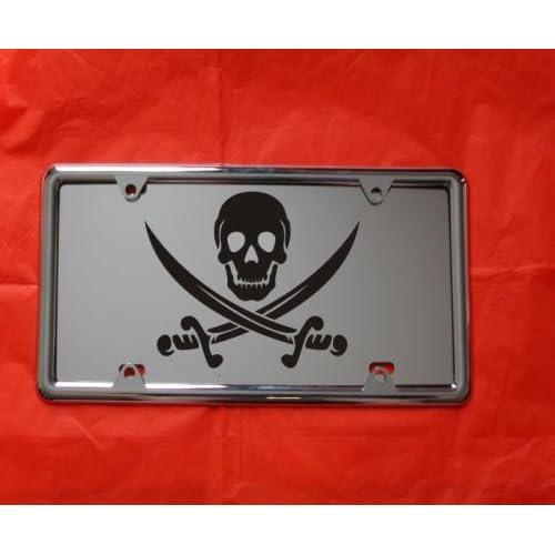SKULL Custom License Plate BONES Emblem WEAPONS RED Version