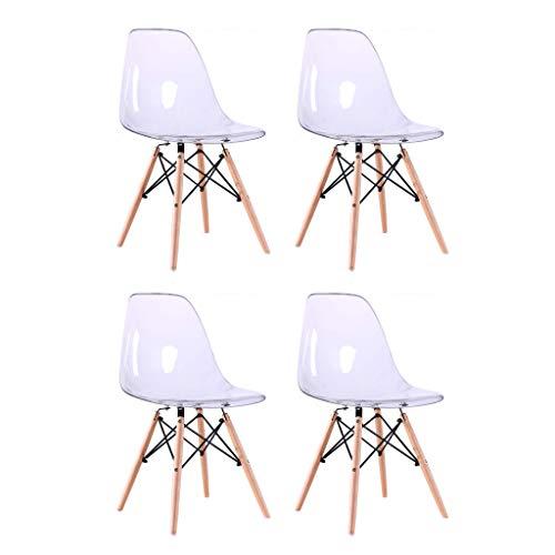 Milani Home s.r.l.s. Set di 4 Sedie di Design Moderne in Pc Trasparente Struttura in Metallo Verniciato Nero Gambe in Legno Massello di Faggio