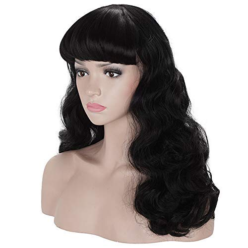 Morvally 50s Vintage Medium Length Black Wigs with Bangs | Natural Wavy Synthetic Hair Wig for Women Cosplay Halloween