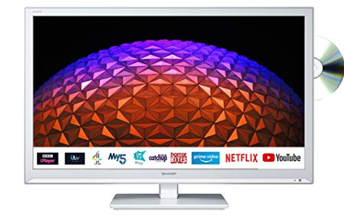 Sharp 1T-C24BE0KR1FW (24BE0KW) 24 Inch HD Ready LED Smart TV with Freeview...