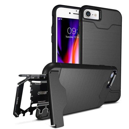 Olixar iPhone 7 Military Case/Rugged Hülle/Survival - Kartenfach/Kartenslot - TPU Schale - Standfunktion X-Ranger - Multi Tool - Schwarz - Kompatibel Mit iPhone 8