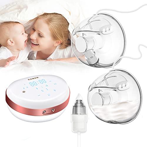 Sacaleches Eléctrico, Extractor de leche eléctrico doble, extractor de lactancia manos libres con aspirador nasal para bebés, a prueba de fugas, ultra silencioso (5 modos, 24 mm y 28 mm)