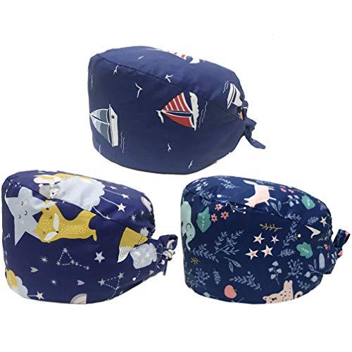 PRETYZOOM 3 Pcs Chapeau de Travail Étanche à La Poussière Sangle Réglable Impression Tête Protecteur Infirmière Casquette Docteur Chapeau pour Femmes Hommes