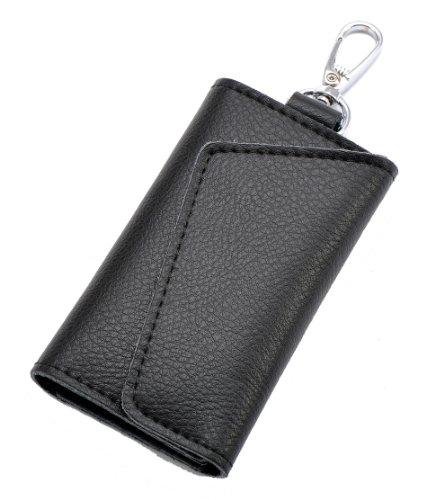 Heshe Fashion Leather Key Case Pure Color 6 Key Holder Keychain Key Ring (Black)