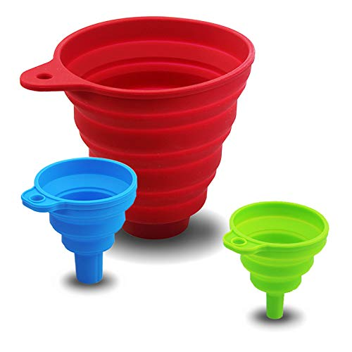 Collapsible Funnel,3 Pieces Funnels for Kitchen Use Set,Food Grade Silicone Funnels for Filling Bottles Canning (Red,Blue,Green)