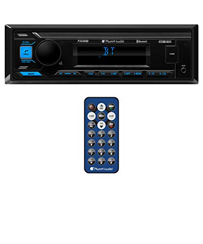 Planet Audio P350MB Multimedia Car Stereo - Single Din, Bluetooth Audio and Hands-Free Calling, MP3 Player, USB Audio, USB Charging, AUX Input, AM/FM Radio Receiver, No CD/DVD Player