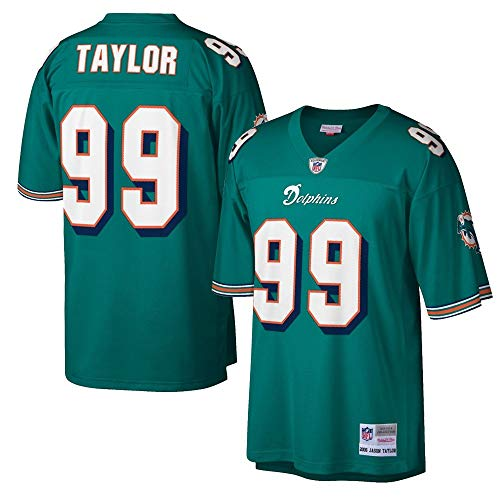 Mitchell & Ness Mens Dolphins Jason Taylor 2006 Throwback Replica Jersey Aqua (Large)