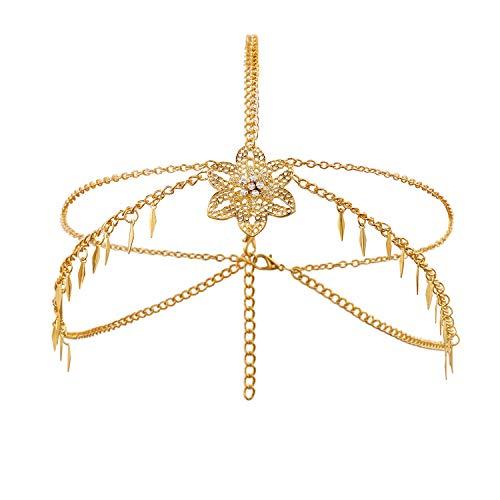 Metme Damen Flapper Stirnbänder Haarschmuck Hochzeit Braut Accessoires Bohemian Boho Gold Haarbänder