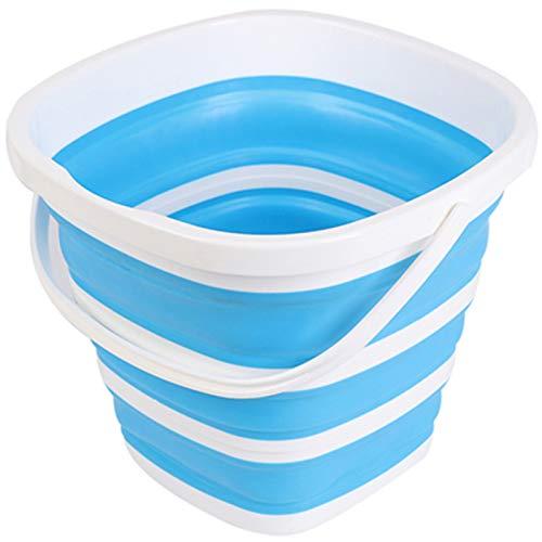 SENFEISM Cubo plegable de silicona, cubo de pesca al aire libre Cubo de silicona para la pesca plegable cubo de lavado de coches al aire libre pesca cuadrada barril baño cocina