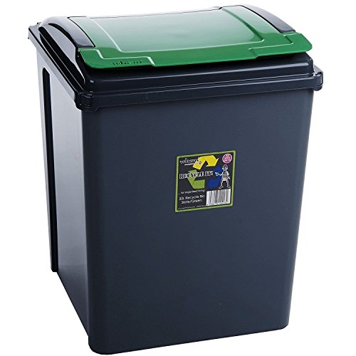 50 Litre Green Plastic Waste Recycle Bin with Flap Lid For Kitchen Home Office