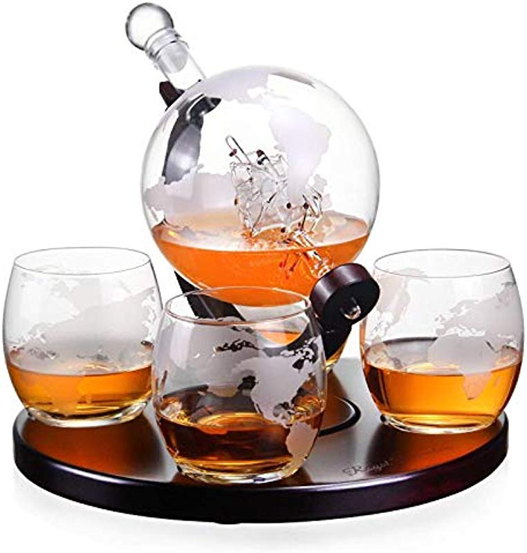 Royal Decanters Etched Globe Whiskey Decanter Gift Set Glasses Glass Beverage Drink Dispenser Also For Brandy Tequila Bourbon Scotch Rum Alcohol Related Gifts For Dad 850ML 4 Glass Round