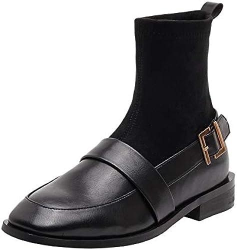 Shukun Bottes Chaussettes pour Femmes, Chaussettes à Bas Talons Chaussettes Chaussures Bottes épaisses Bottes épaisses pour Femmes Bottes d'hiver Maigres