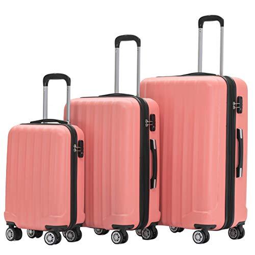 BEIBYE TSA-Schloß 2080 Zwillingsrollen 3 TLG. Reisekofferset Koffer Kofferset Trolley Trolleys Hartschale (Aprikosenblüten)