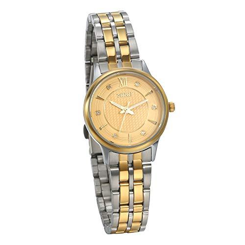 JewelryWe Womens Wristwatch Rhinestone Round Dial Quartz Watch Gold Silver Tone Stainless Steel Luxury Stylish Dress Watch