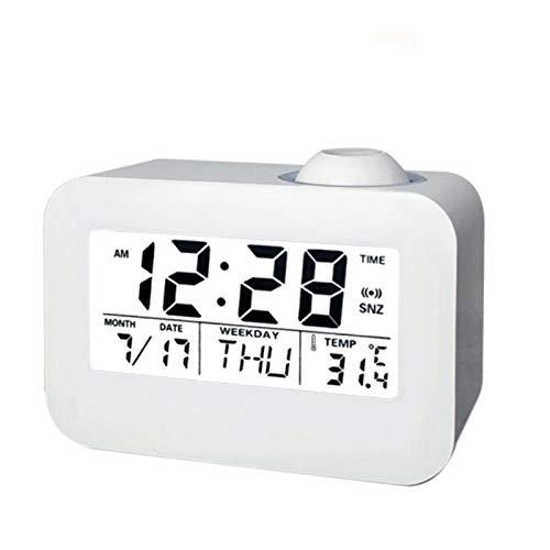 Huante - Pantalla de techo de proyección de tiempo de visualización de cristales líquidos, digital Snooze reloj de mesa de escritorio, control de vacaciones, calendario perpetuo de difusión cívica
