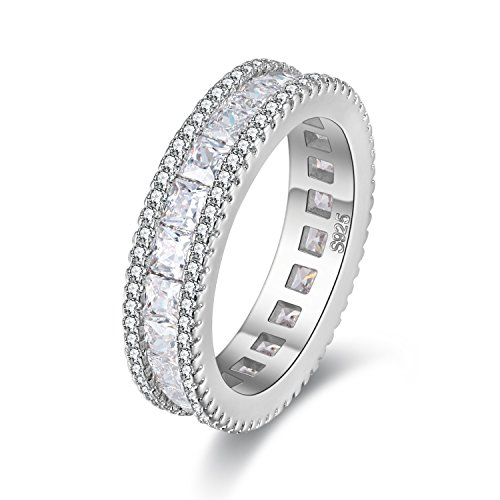 Uloveido Rodio Cuadrado Cubic Zirconia Eternity Band Anillos de Compromiso de Boda de Diamante Simulado para Mujeres PJ4279 (Tamaño 19)