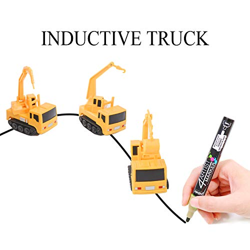 YoCosii Magic Inductive Truck Toy Follows Line Drawn Inductive Engineering Vehicle Educational Toy Vehicles Gift for Kids & Children 1PC