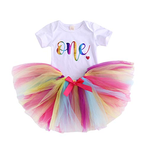 Baby Girls 1st Birthday Tutu Dress Short Sleeve Colours One Romper Top Lace Skirt Clothes Outfit 2Pcs (Colours, 12-18 Months)