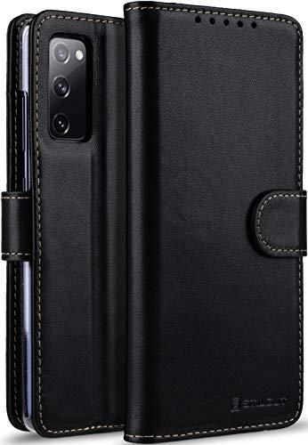 StilGut Talis kompatibel mit Samsung Galaxy S20 FE Hülle mit Kartenfach aus Leder, Flip Cover, Wallet Hülle, Lederhülle mit Fächern, Standfunktion und Verschluss - Schwarz Nappa