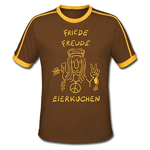 Friede Freude Eierkuchen T-Shirts Männer Retro-T-Shirt, L, Chocolate/Sun