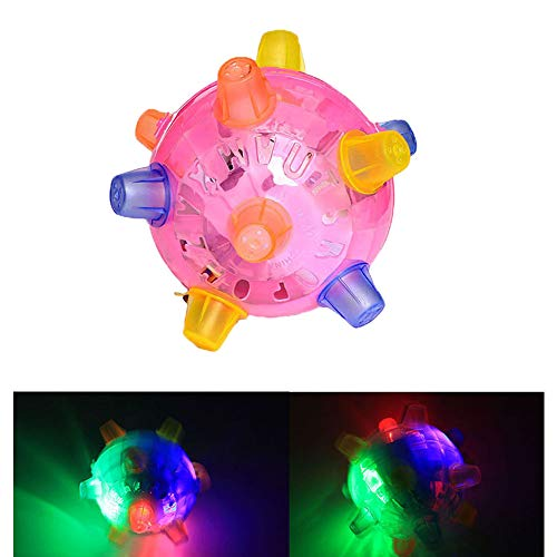 Leagway Flash Jumping Vibrating Bouncing Ball, Creative Flashing Dancing Ball with Colorful LED Light and Music, Novelty Light up Jump Ball Toys for Kids Boys Girls, Color Random