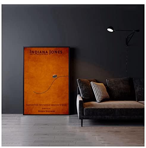 Póster de película de aventuras de Indiana Jones y el templo de la perdición,50x70 cm sin marco