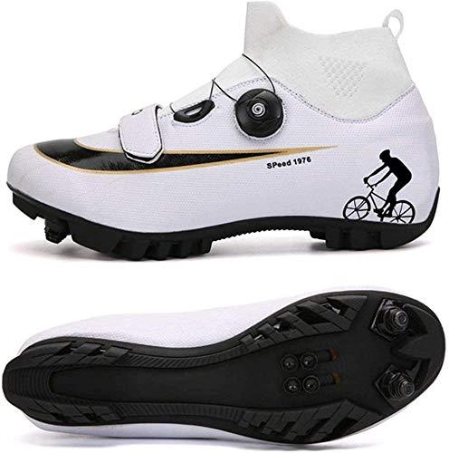 KUXUAN Zapatillas De Ciclismo MTB para Hombre,Zapatillas De Ciclismo De Montaña con Candados Zapatillas Deportivas De Invierno para Hombres Y Mujeres/Suelas De Nailon,White-B-10UK=(270mm)=44EU