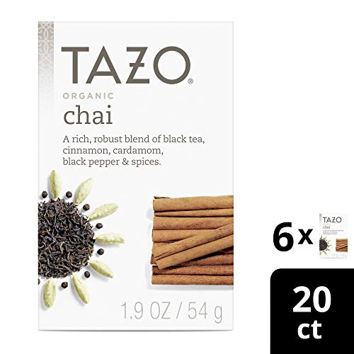Tazo Organic Chai Tea Bags For a Warm Spiced Chai Black Tea Organic with Moderate Caffeine 20 Tea Bags 6 ct