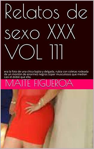 Relatos de sexo XXX VOL 111: era la foto de una chica bajita y delgada, rubia con coletas rodeada de un montón de enormes negros súper musculosos que median casi el doble que ella.
