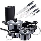 Batería de cocina 8 piezas SAN IGNACIO Porto fabricada en aluminio prensado apta para induccion, con Tacoma / Bloque de cuchillos universal, negro y Set 4 Cuchillos de cocina