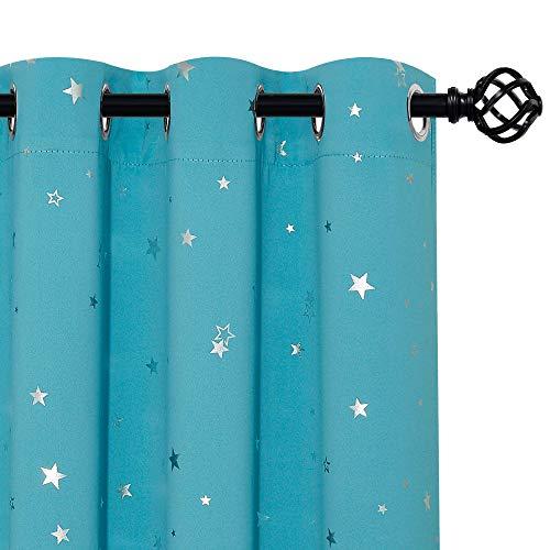 Cortinas Infantiles Dormitorio - Cortinas Opacas de Estrellas Platedas para Habitación Niño Niña, 2 Piezas, 132 x 137 CM, Azul