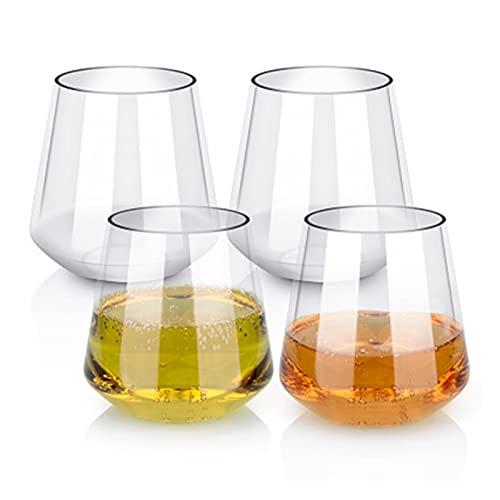 ZIS 4 unids Tritan Whiskey Cup Copa de Vino Conjunto de Vino de plástico a Prueba de vinos Taza de Vino irrompible Jugo de la Cerveza de Vino Ajuste para la Fiesta de Camping al Aire Libre