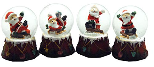 09056519 4er Set süße Mini-Schneekugeln Santa Weihnachtsmann auf Geschenke Sockel, Durchmesser 45mm