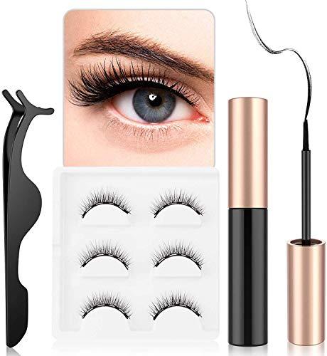 Eyeliner Magnétique, Magnetic Eyeliner Kit de Cils Magnétiques, 3D Réutilisables Sans Colle Faux Cils Naturels, Sans Colle, Avec Des Pincettes(3 Paires)