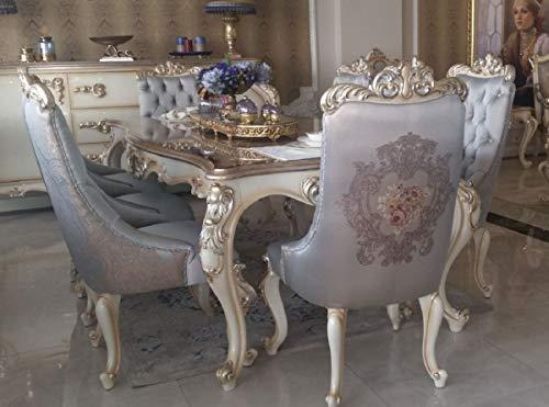 Casa Padrino Mesa de Comedor Barroco de Lujo Plata/Crema/Oro - Mesa de Comedor de Madera Maciza Hecha a Mano - Muebles de Estilo Barroco - Noble y Pomposo