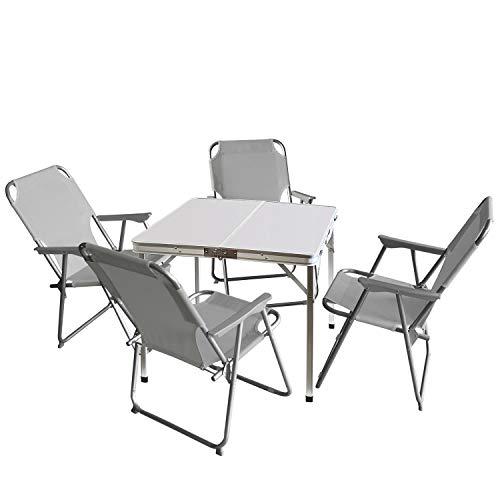 Wohaga 5tlg. Campingmöbel Set Campingtisch 'Domburg' Weiß 80x80cm + 4X Campingstuhl, Hellgrau/Strandmöbel Campinggarnitur Gartenmöbel