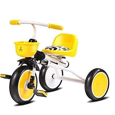 WLD Bicicleta triciclo para niños de acero al carbono de alto carbono para niños Baby 1-3 Bicicleta plegable ligera para bebé, blanco/negro, 70X34X50Cm Cochecito de bebé,Blanco
