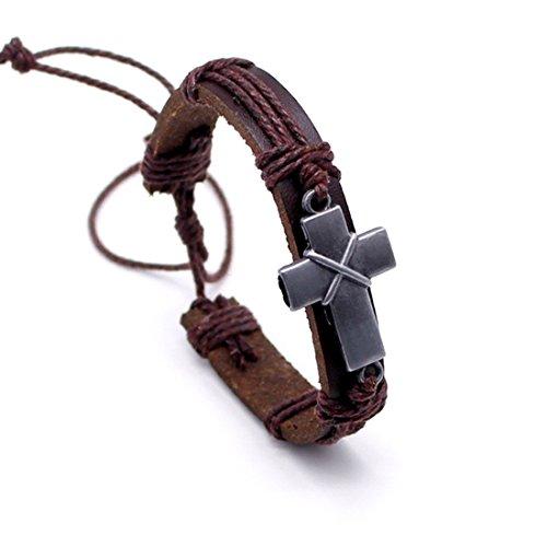 LNKRE JEWELRY Brown Criss Cross Leather Bracelet Religious Christian Surfer Bangle