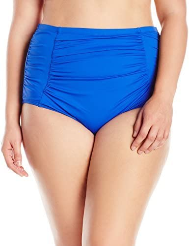 La Blanca Women's Plus-Size Island Goddess High Waist Rouched Bikini Swimsuit Bottom