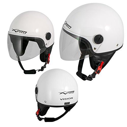 A-Pro Motorradhelm Motorrad Roller Jet Helm Demi Mit Viser Weiß XL