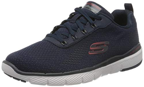 Skechers Flex Advantage 3.0, Zapatillas Hombre, Azul (Navy Mesh Red Trim Nvrd), 42 EU