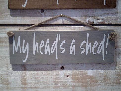 DKISEE Mijn hoofd is een schuur! Opknoping Plaque Teken Opknoping Board Plaque Teken voor Wanddecoratie