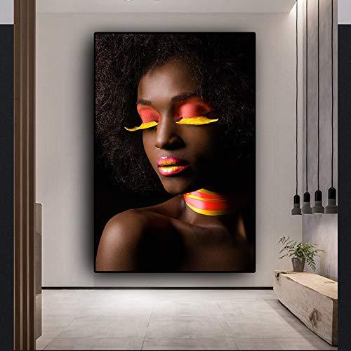 sanzangtang zwart-wit-Afrikaanse vrouw canvasschilderij poster en druk wandafbeelding woonkamer afbeelding zonder lijst schilderij
