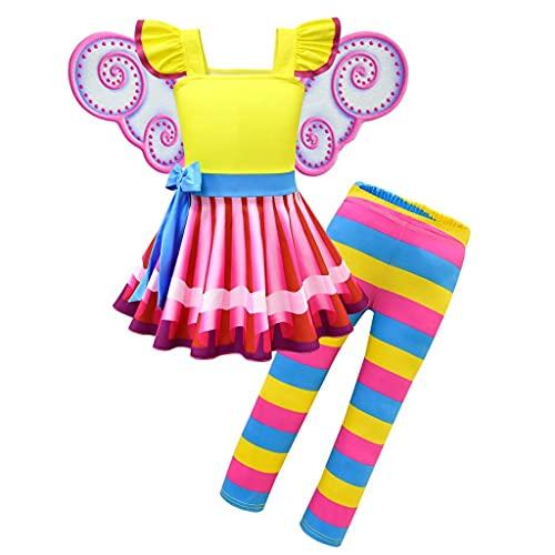 Lito Angels - Costume da bambina con ali di farfalla e leggings per Halloween, per feste a tema di compleanno, 6-7 anni, colore: giallo 290